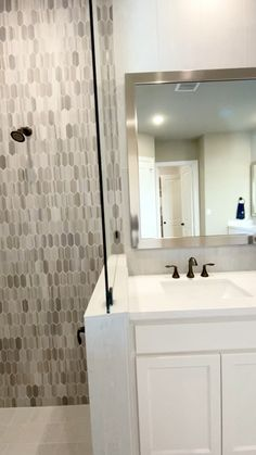 Master Bathroom design with beautiful shower tile Bathroom Decor Ideas Bathroom Beautiful Design Master Shower Tile Bathroom Renos, Bathroom Layout, Bathroom Interior Design, Bathroom Ideas, Bath Ideas, Bathroom Organization, Bathroom Remodeling, Bathroom Mirrors, Remodel Bathroom