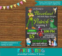 Printable peter pan and tinkerbell birthday invitation kids peter pan chalkboard baby shower or birthday party by partiesbyg filmwisefo