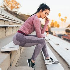 Fitness meets fashion. Ally Stone styling the Flex Leggings in Blackberry with Seamless Long Sleeve Plum. Get the look at Gymshark.com