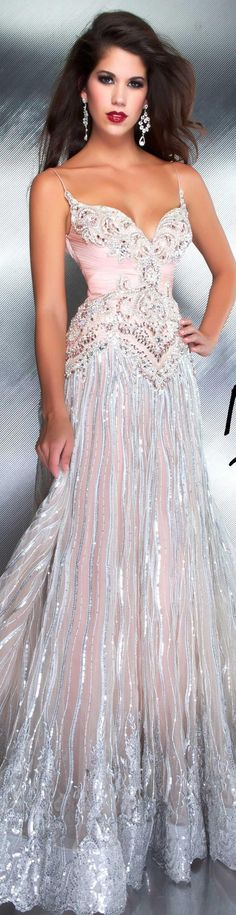 Pink and silver gown by Mac Duggal