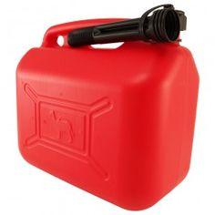 Garrafas para gasolina homologadas para el transporte de mercancías peligrosas clase 3. Fabricadas en polietileno de alta densidad, con embudo.