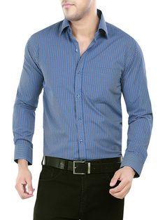 Blue Checkered Formal Cotton shirt