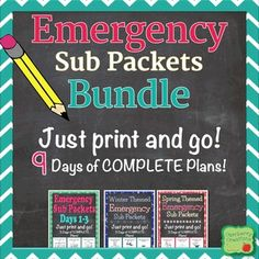 How to be a prepared substitute teacher pinterest substitute emergency sub packets bundle 9 days of ready to go plans fandeluxe Images