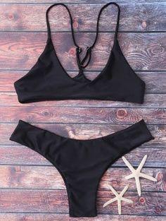 Spaghetti Strap Thong Bikini Set - Black