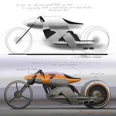 Cafe racer concept speed sketch demo by Bernie Walsh http://www.carbodydesign.com/tutorial/39713/cafe-racer-concept-speed-sketch-demo/