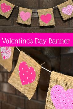 Add a little bit of rustic decor to your home for Valentine's Day with this burlap & fabric hearts banner! A great project to make with your Silhouette Cameo!