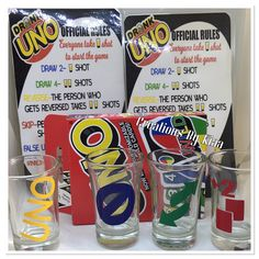 This is a adult card game. Drink responsibly You will get Deck of cards 2 rule sheets 4 shot glasses Glasses are glass Uno Drinking Game, Drinking Games For Parties, First Birthday Party Themes, Birthday Games, Uno Card Game, Card Games, Nursing Accessories, Alcohol, Diy Games