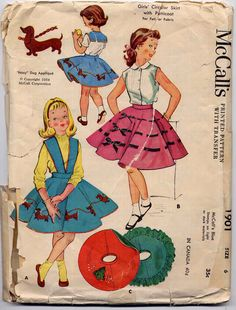 Vintage 1950s Girls Weiner Dog Circle Skirt and Petticoat Sewing Pattern McCall 1901 Halter and Dachshund Applique Size 6. $14.95, via Etsy.