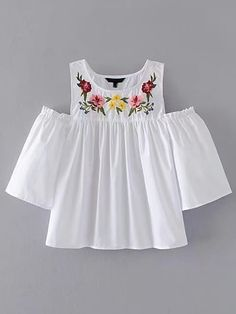 ROMWE offers Open Shoulder Flower Embroidery Top & more to fit your fashionable needs. Girls Fashion Clothes, Teen Fashion Outfits, Boho Fashion, Kids Outfits, Casual Outfits, Jugend Mode Outfits, Mode Style, Stylish Dresses, Nice Dresses