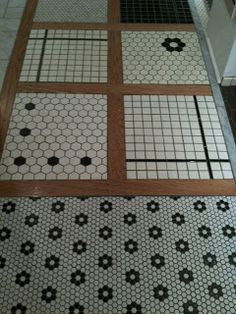 Top right (black flowers with white hex tile) or second from top left tile pattern could work well in Claudia's bathroom