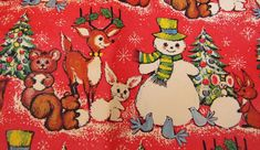 VINTAGE Christmas Wrapping Paper ~SNOWMAN~REINDEER~BLUEBIRD~1960s Gift Wrap - $24.00. This is adorable vintage Christmas wrapping paper with adorable Snowman, Bluebirds, Reindeer. It is folded gently into a kind of roll. It measures 168 X 26 inches when unfolded. Good condition, I saw one tiny pinhole on a fold. US sales only please. 362210996814