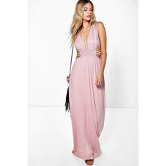 Boohoo Ava Rouched Waist Band Maxi Dress (250 NOK) ❤ liked on Polyvore featuring dresses, peach, white going out dresses, maxi party dresses, peach dress, white mini dress and boohoo dresses