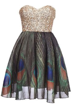 Gold sequined peacock dress! I want this!