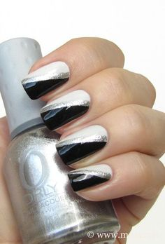 Silver Nails   Black,white,silver nails