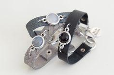 Armband plat leer met steen jade