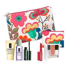 Brand New Clinique 2012 Fall 7 Pcs Gift Set Dramatically Different Moisturizing Gel Colour Surge Eye Shadow Duo with Softpressed Powder Blusher High Impact Mascara Take the Day Off Makeup Remover Almost Lipstick in Fliity Honey and Two Floral Cosmetics Bags 65 Value * Check out the image by visiting the link.Note:It is affiliate link to Amazon.