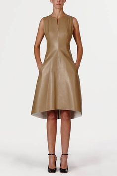 Reed Krakoff — Lightweight Nappa Sleeveless Slit Neck Dress - Khaki