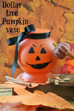 Dollar tree pumpkin vase and lots of other dollar tree cayute budget friendly fall ideas all in one place!