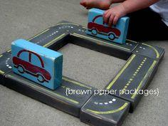 brown paper packages: {2x4 raceway building blocks} featuring martha stewart paint & tools