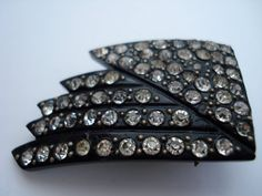 Art Deco Dress Clip Bakelite and Rhinestones 1920's 1930's