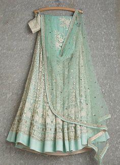 Mint lehenga and dupatta with white thread work Indian Attire, Indian Ethnic Wear, Indian Style, Indian Wedding Outfits, Indian Outfits, Wedding Attire, Lehnga Dress, Indian Lehenga, Desi Clothes
