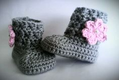 Crochet Baby Girl Boots, Pink and Gray Baby Girl Booties