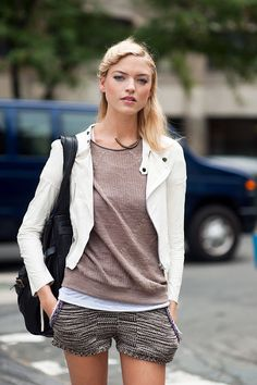 I love the 1.) beige-tastic colors, 2.) layers! it's sometimes cold in the summer, and 3.) leather moto jacket in this outfit. I think the leather jacket works because it appears to be very thin, possibly unlined, and of course off-white.