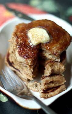 Warm Apple Cider Pancakes with Cinnamon Sugar Topping. The perfect fall treat.