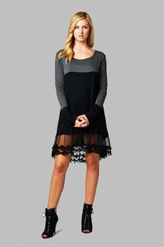 Charcoal and Black Lace Tunic Dress – Texas Two Boutique