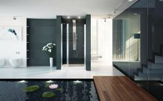 Light spilling into the bathroom blurs the boundaries between indoors and out.