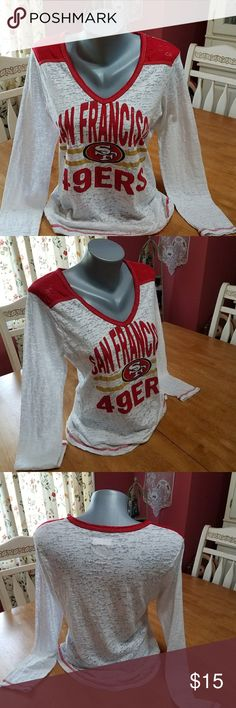 San Francisco 49ERS long sleeve top Cute top will have you looking like great on game day. NFL Team Apparel Tops Tees - Long Sleeve