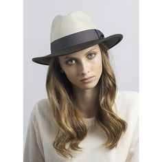 Justine Hats Two Tone Felt Fedora Hat ($99) ❤ liked on Polyvore featuring accessories, hats, beige, brimmed hat, wide brim fedora hat, band hats, wide brim felt fedora and beige fedora