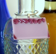 Mauve wine bottle charm personalize with names or dates for keepsake ornament by Glasspainter1, $6.00