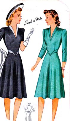 1940s Vintage Simplicity Pattern 3875 // ELEGANT Misses' Fitted Bodice Dress with V-Neckline and Sleeve Variations // Size 14..bust 32 by anne8865 on Etsy https://www.etsy.com/listing/208476704/1940s-vintage-simplicity-pattern-3875