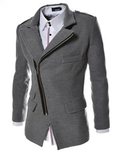 Korean fashion coats for men. Slim fit asymmetrical zipper jackets are made of wool blend. Stylish guys woolen coats for dating, club, party, wedding and more.
