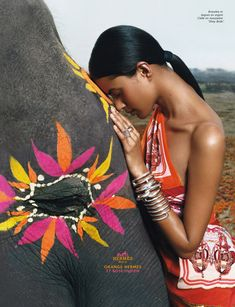 Lakshmi Menon in the Hermes Campaign - Hermes Orange, Indian Pink.Inspired by the painted elephants of Rajasthan(Photo coutesy:Nirali Magazine) We Are The World, People Of The World, Tribal Trends, Lakshmi Menon, Rainer Maria, Culture Art, Culture Shock, Hermes Orange, Photo Portrait