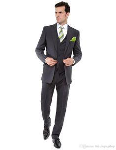 2015 Slim Fit Hot Sale Groom Tuxedos Peak Lapel Best Man Suit Grey Strips Groomsman Men'S Weddingprom Suits Jacket+Pants+Tie+Vest N5 Slim Fit Tuxedos Tailcoat Suit From Baixinqingshop, $79.0  Dhgate.Com