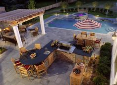 Cooking outdoors at Outdoor Kitchen brings a different sensation. We can use our patio / backyard space to build outdoor kitchen. Outdoor kitchen u. Backyard Kitchen, Outdoor Kitchen Design, Backyard Patio, Backyard Landscaping, Backyard Ideas, Pool Ideas, Patio Decks, Kitchen Seating, Backyard Layout