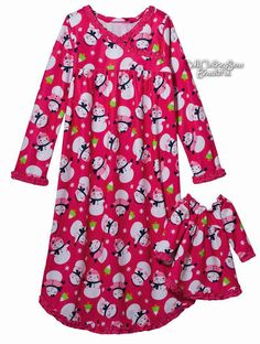 Jumping Beans Girls Size 4 Fleece Snowman Polka Dot Pajama Set With Doll Gown