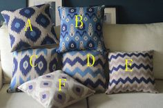 cotton linen Fabrics shade pillow pillow sham Zig Zag Pillow Cover pillow pattern grey and blue cushion cover case