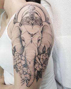 ▷ 1001 + ideas for heartwarming mother daughter tattoos Mandala Elephant Tattoo, Elephant Thigh Tattoo, Elephant Tattoo Design, Butterfly Thigh Tattoo, Small Thigh Tattoos, Leg Tattoos, Body Art Tattoos, Sleeve Tattoos, Tattoo Femeninos