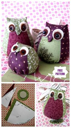 DIY Cute Fabric Owl Toy Tutorial - Free TemplateYou can find Owl patterns and more on our website. Fabric Crafts, Sewing Crafts, Sewing Tips, Fabric Toys Diy, Sewing Tutorials, Free Sewing, Sewing Hacks, Owl Sewing Patterns, Pincushion Patterns