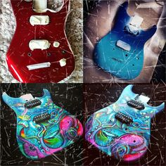 Painted Guitars, Guitar Painting, Cool Guitar, Cartoon Characters, Hand Painted, Cool Stuff, Instagram Posts, Design