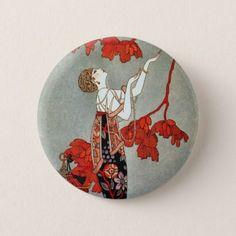 Red Madame Art Deco Design Pinback Button #valentinesday #buttons