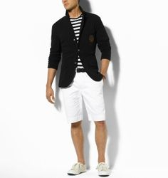 The classic blue blazer (shorts could be shorter)