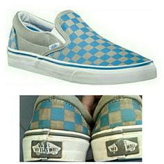 Vans grey and blue checkered slip ons super cool vans,but alittle too big for me. im a size 7.5 but usually get an 8 in vans. these are def true to size! some minor wear(view pic) check out my closet for deals. feel free to request your own bundle listing! will lower to $5 if buy the aztec vans! vans Shoes Sneakers
