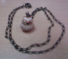 Sleepy Owl  Antique Bronze Necklace by mylondonsun on Etsy, $12.00