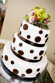 Three tier black and white round polka dot wedding cake