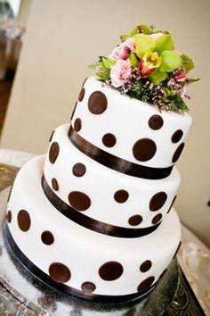 Three tier black and white round polka dot wedding cake