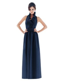 Longer version of ruffle neckline & BOTH have pockets || Navy Bridesmaid Dress
